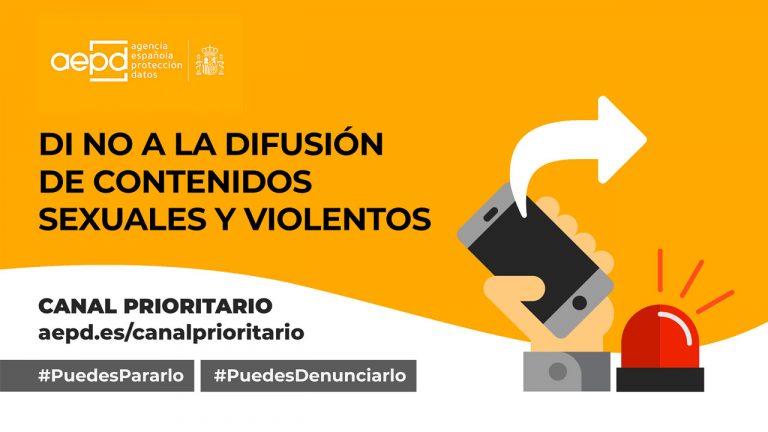 'Lo paras o lo pasas', nueva iniciativa de la Agencia para fomentar el uso del Canal Prioritario para denunciar la difusión de contenidos sexuales o violentos