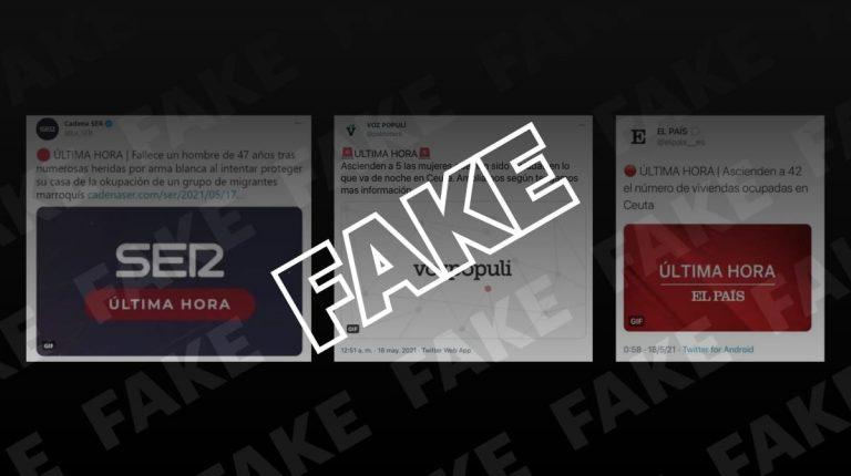 """Los falsos tuits atribuidos a La Ser, Vozpópuli y El País sobre """"violaciones"""", """"asesinatos"""" y """"ocupaciones"""" en Ceuta"""