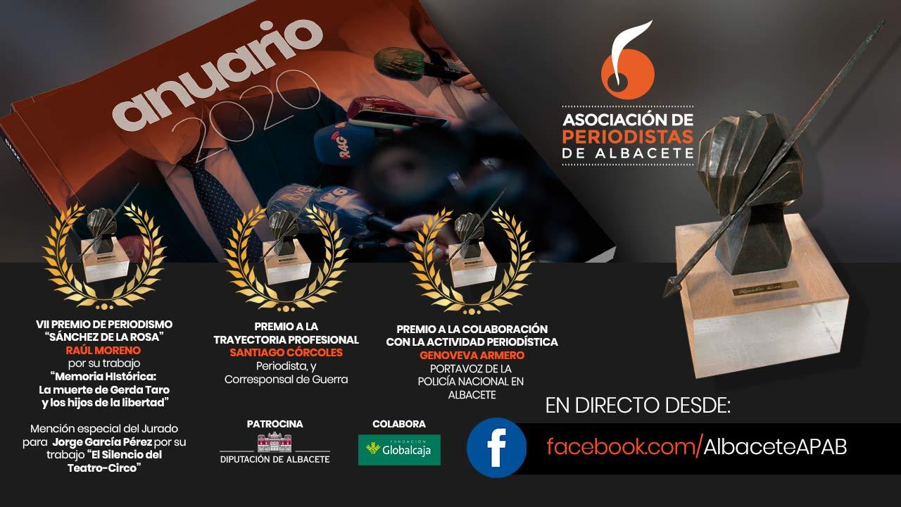La Asociación de Periodistas de Albacete entrega este sábado 12 de junio sus Premios de Periodismo 2021.
